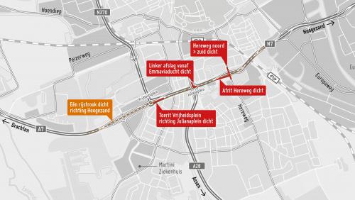 Verkeershinder op Ring Zuid richting Hoogezand op 1 en 8 februari